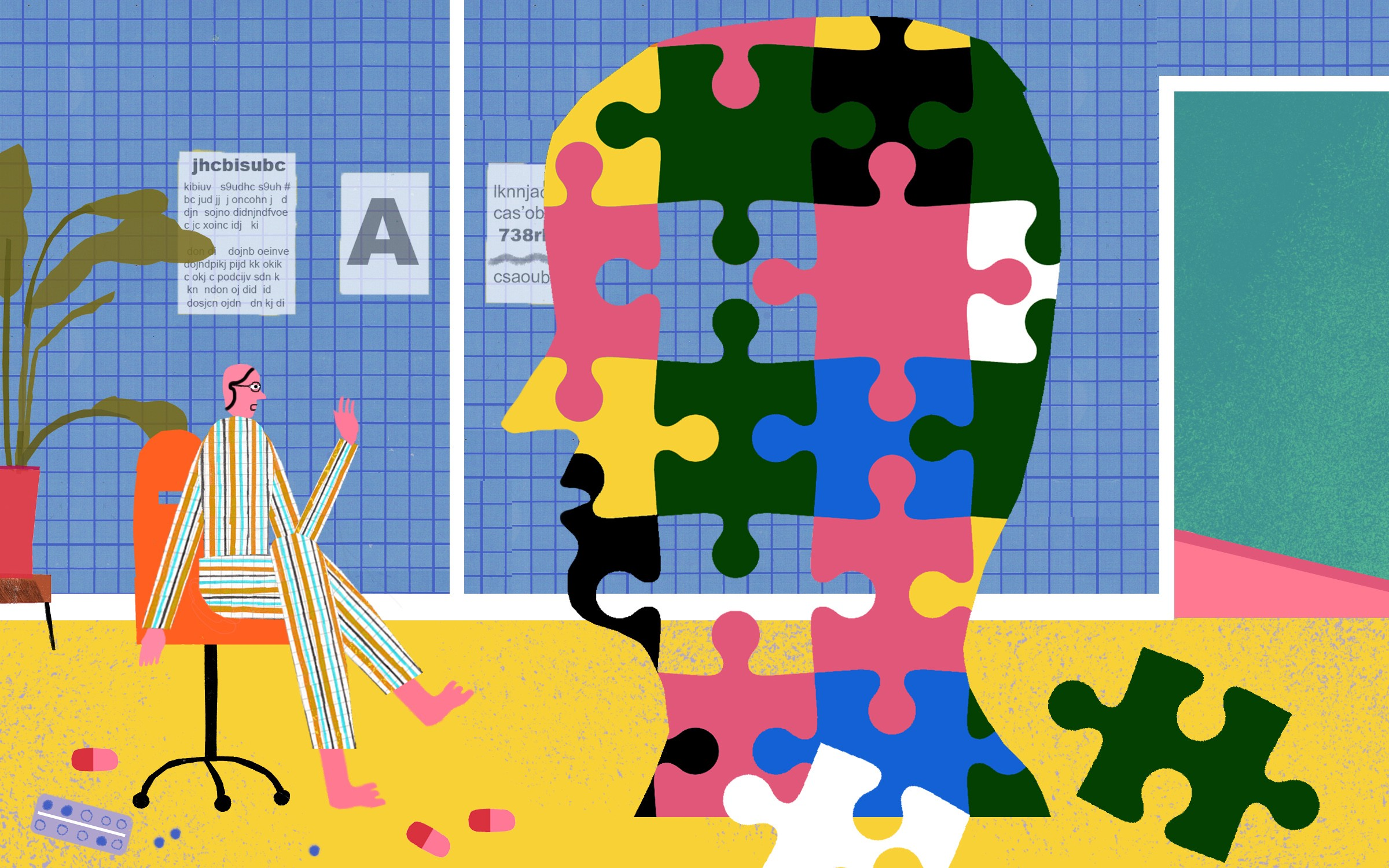Illustration of a therapist in a chair with a colorful large head made of puzzle pieces